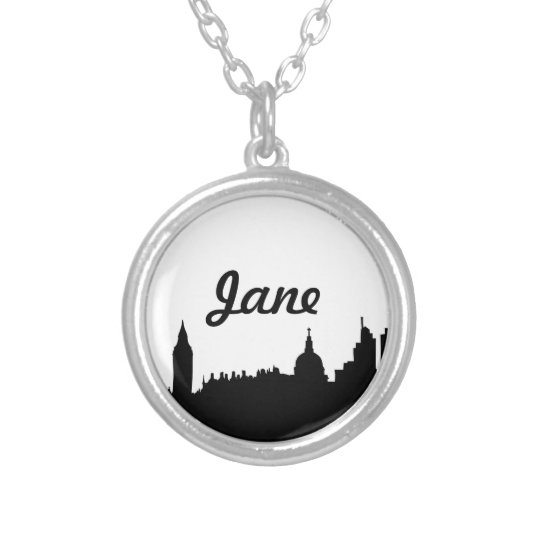 London skyline silhouette cityscape silver plated necklace