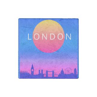 London Skyline Sunset Travel Poster Stone Magnet