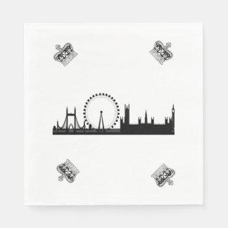 London Skyline Themed Royal Crown Paper Napkins