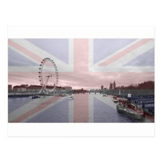 London Skyline Union Jack Flag Post Card