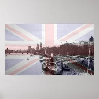 London Skyline Union Jack Flag Poster