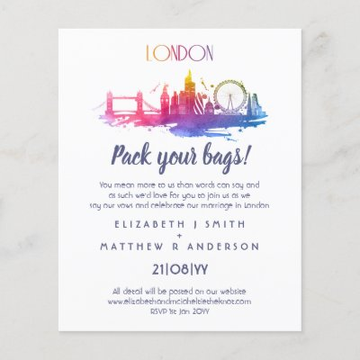 LONDON Skyline Wedding Handdrawn Budget Invites