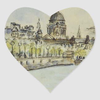 London, St. Paul's Cathedral by Camille Pissarro Heart Sticker