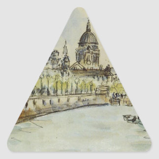 London, St. Paul's Cathedral by Camille Pissarro Triangle Sticker
