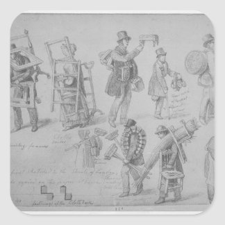 London street traders, 1830-40 square sticker