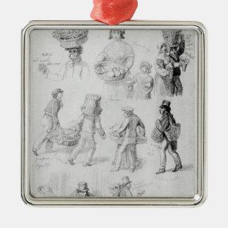 London Street Vendors: The Cries of London, 1843 Metal Ornament