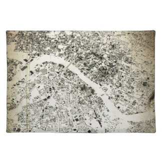 London Streets and Buildings Vintage Map Cloth Placemat
