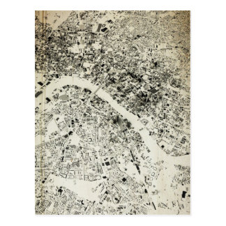London Streets and Buildings Vintage Map Postcard