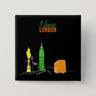London Stylish Modern Simple Sketch Pop Art Cool Button