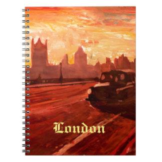 London Taxi Big Ben Sunset with Parliament Notebook