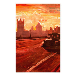 London Taxi Big Ben Sunset with Parliament Stationery Design