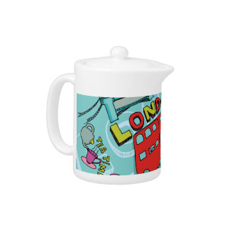 London Tea Time Whimsical Art Teapot