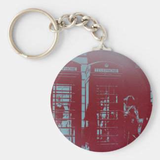 London Telephone Booth Basic Round Button Keychain