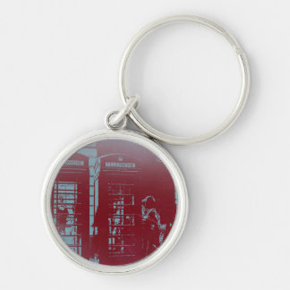 London Telephone Booth Silver-Colored Round Keychain