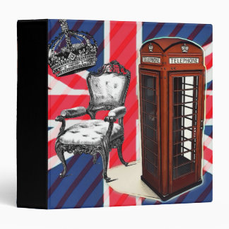 London telephone booth victorian crown union jack 3 ring binder