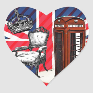 London telephone booth victorian crown union jack heart sticker