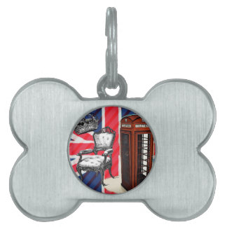 London telephone booth victorian crown union jack pet ID tag