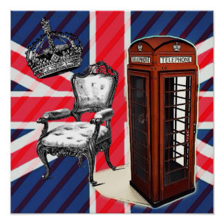 London telephone booth victorian crown union jack poster