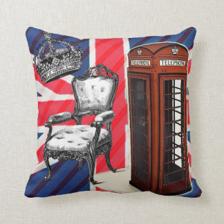 London telephone booth victorian crown union jack throw pillow