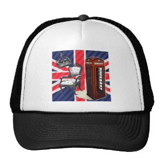 London telephone booth victorian crown union jack trucker hat