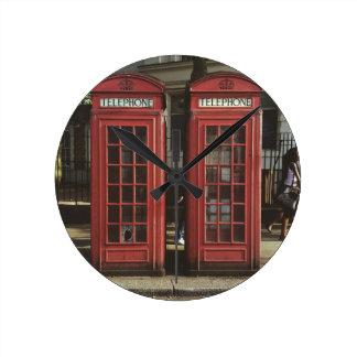 London Telephone Box Round Clock