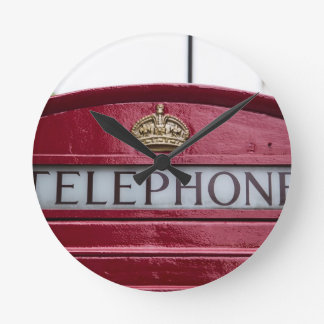 London Telephone Phone Booth Red Round Clock