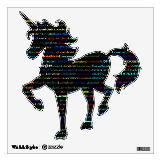 London Text Design I Wall Decal Unicorn Prancing