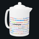 "London Text Design II Teapot<br><div class=""desc"">London in text,  in multiple colors and fonts.</div>"