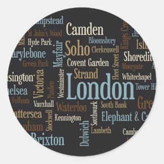 London Text Map Classic Round Sticker