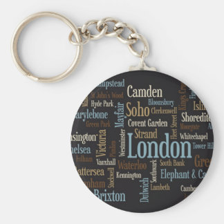 London Text Map Basic Round Button Keychain