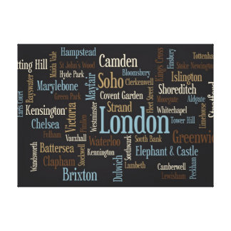 London Text Map Stretched Canvas Print