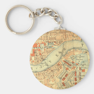 London Thames Vintage Map Keychain