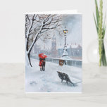 """London Thames walk with a romantic couple Holiday Card<br><div class=""""desc"""">from an original oil painting</div>"""