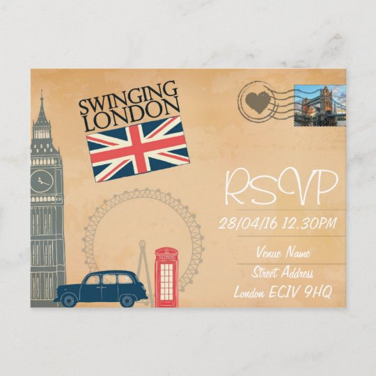 London Themed Wedding Rsvp Invitation With Photo Zazzle