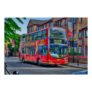 London to Lewisham Red Double-decker Bus UK Poster