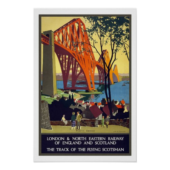 London to Scotland Vintage Travel Poster
