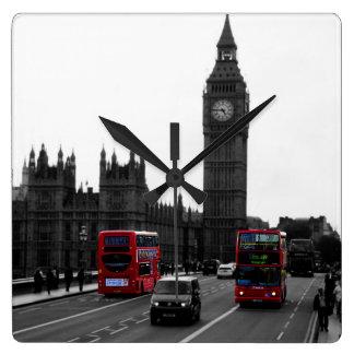 London tour Bus and Big ben wall clock
