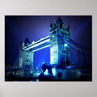 London Tower Bridge at Blue Night Poster