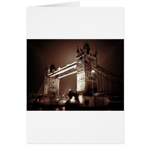 London Tower Bridge at Night Cards
