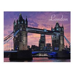 London Tower Bridge British Travel Postcard