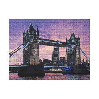 London Tower Bridge in Purple Canvas