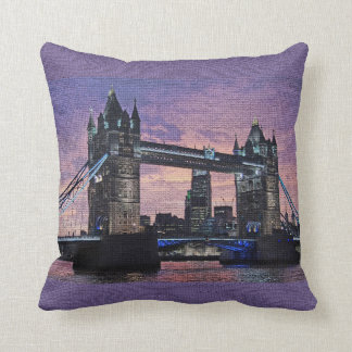 London Tower Bridge Mosaic Purple Pillow