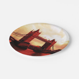 london tower bridge red 7 inch paper plate