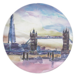 London Tower Bridge with The Shard at dusk Plate