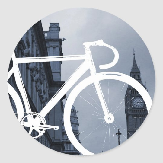 London Track Bicycle Classic Round Sticker