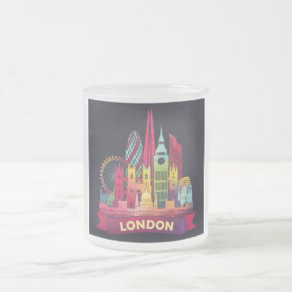 London - Travel to the famous Landmarks Frosted Glass Coffee Mug