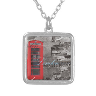 London Traveller Scripts Red Telephone Booth Silver Plated Necklace