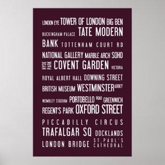 London - typographic poster, aubergine poster