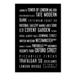 London - typographic poster, black and white poster