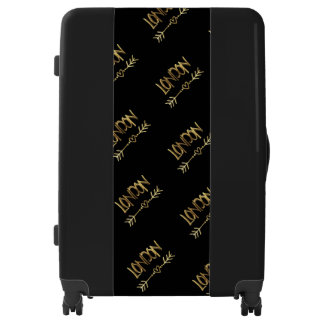 London UK Love Black and Gold Look Typography Luggage